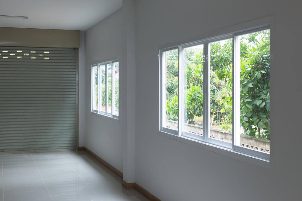 sliding windows in a garage